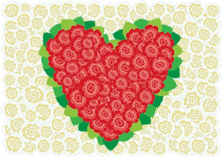 Beautiful red roses heart around leaves on the white roses background Stock Vector - 6744404