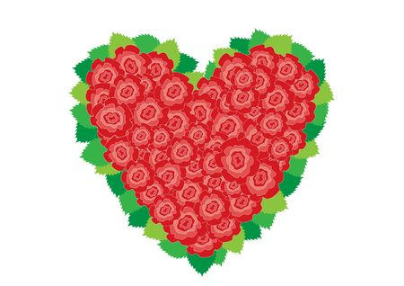 Beautiful red roses heart around leaves on the white background Stock Vector - 6744382