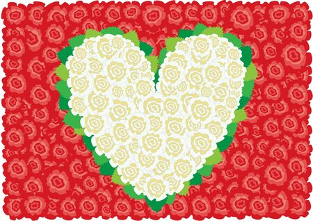 Beautiful white roses heart around leaves on the red roses background Stock Vector - 6744406