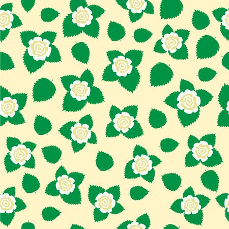 The white roses with leaves texture on the white dairy background Vector