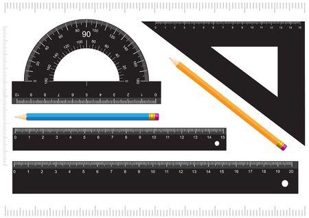 Zwarte liniaal, het meten van de omvang, de graden boog en de pot lood geïsoleerd op witte achtergrond