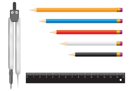 The tools isolated on a white background for geometry. Pencils, a ruler and a compasses Ilustração