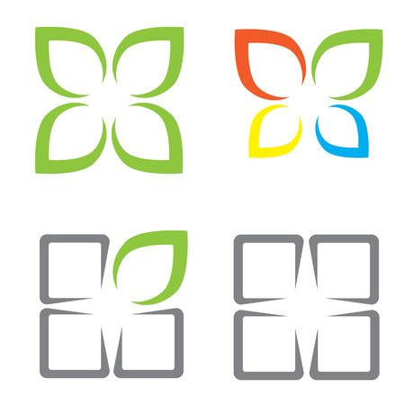 Ecological symbols leaves window and butterfly Illustration