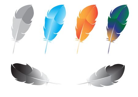 Beautiful multicolored feathers for writing isolated on white background Ilustração
