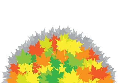 Heap from maple leaves on the white background Vector