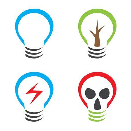 gasmask: Ecological symbols bulb tree lightning and gas mask.