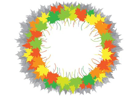 Maple leaves on a circle on a white background Stock Vector - 6744478