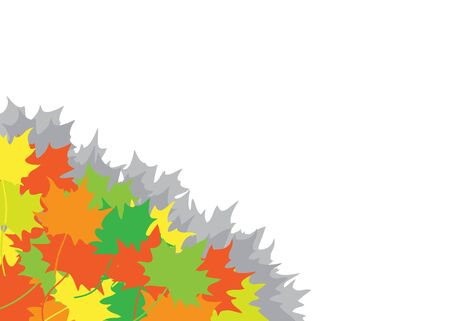 Heap from autumn maple leaves in a corner on the white background Vector