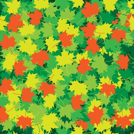 The green, yellow and red maple leaves texture Vector