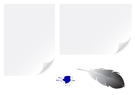 A4 and a3 papers background and feather for writing isolated on white Vector