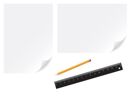 Paper, pencil and ruler isolated on the white background Vector