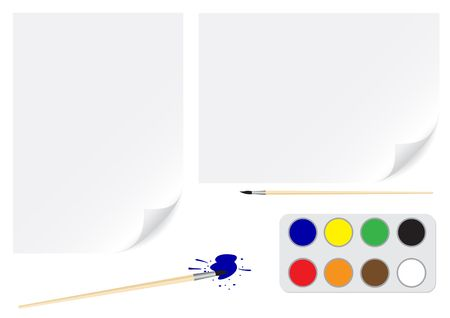 A4 and a3 papers background and paintbrush for drawing isolated on white Vector