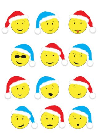 Christmas cartoon emotions smiley isolated on the white background Ilustração