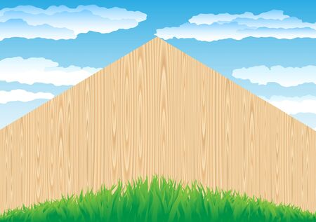 worked: The wood fence and the green grass on blue sky background