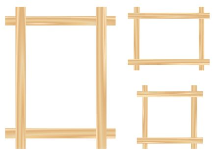 the details: Light wooden framework isolated on the white background