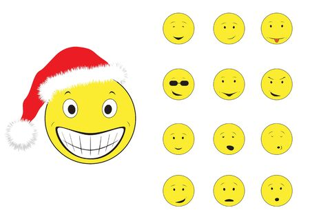 New years cartoon emotions smiley isolated on the white background Vector
