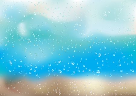 condensation on glass: Rain drops and bubbles on the window Illustration