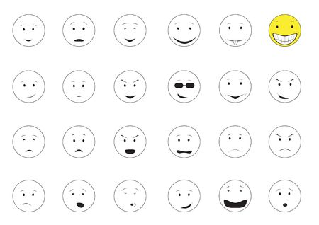 Cartoon emotions smiley isolated on the white background