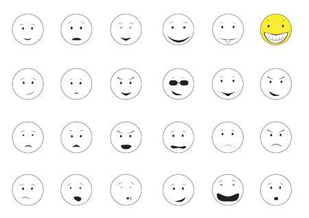 cejas: Smiley de emociones de dibujos animados aislado en el fondo blanco