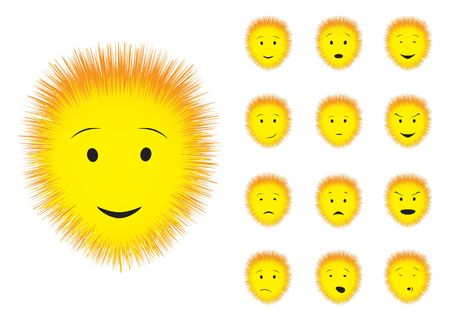 Cartoon fluffy emotions smiley on the white background Vector