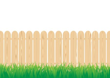 worked: The wood circle fence and the green grass Stock Photo