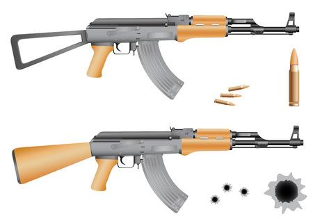 gangster with gun: Agujeros de Ak-47, balas y bala aislados en el fondo blanco