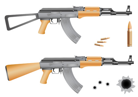 Ak-47, bullets and gunshot holes isolated on the white background