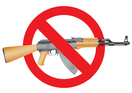 Ak-47 and the interdiction symbol on the white background Vector