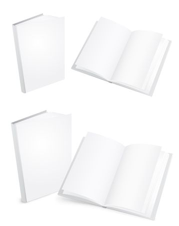 open magazine: 3d white books isolated on the white background Illustration