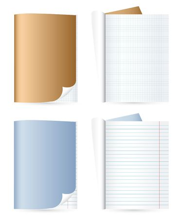 Different copybooks isolated on the white background Vector