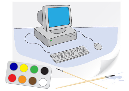 Children drawing of a computer a brush paints on a paper Vector