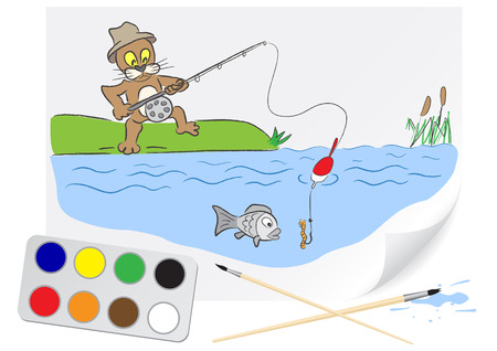 Children drawing a hungry cat fishing a brush paints on a paper Vector