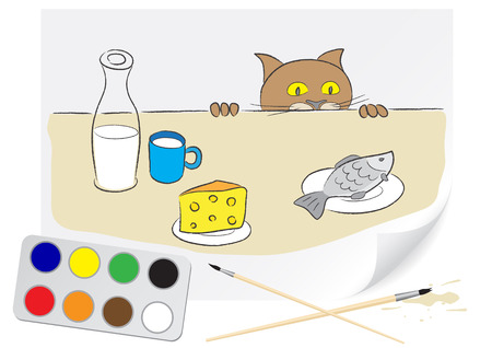 Children drawing a hungry cat a brush paints on a paper Vector
