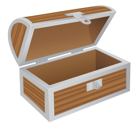 Wooden empty chest isolated on the white background Vector