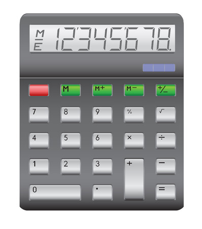 estimate: Business electronic black calculator isolated on the white background Illustration