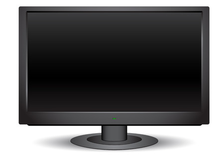 Modern black wide tv isolated on the white background Vector
