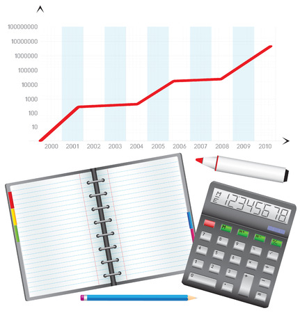 Business objects, the calculator, pencil, notebook, marker and schedule. Stock Vector - 7123176