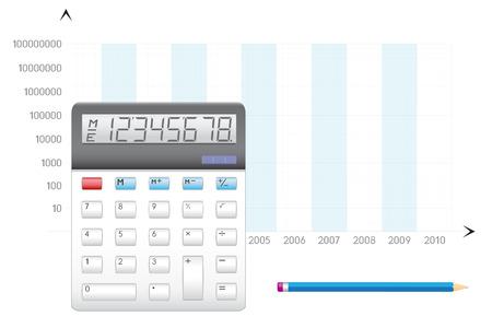 Business calculation, the calculator, pencil and schedule Ilustração
