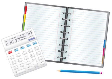 Business objects, the calculator, pencil and notebook. Ilustração