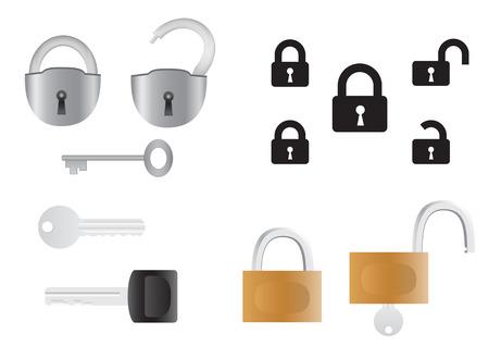 Schlösser und Schlüssel, geöffnet und geschlossen isoliert auf weißem Hintergrund  Vektorgrafik