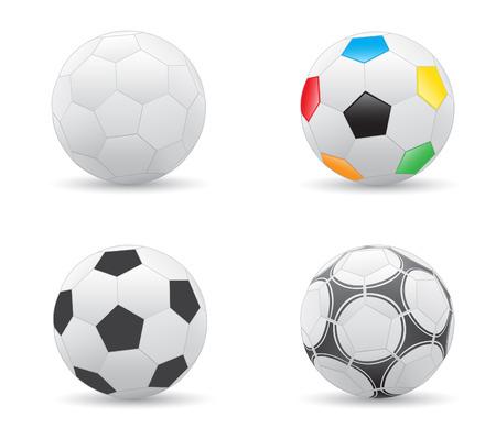 leather ball: Pelotas de f�tbol diferentes aislados en el fondo blanco