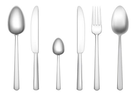 Set of tablewares isolated on the white background Illustration