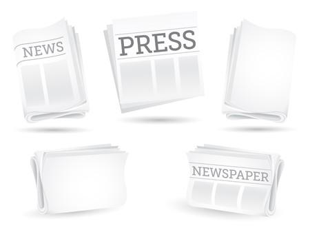 artikelen: Aantal kranten geïsoleerd op de witte achtergrond