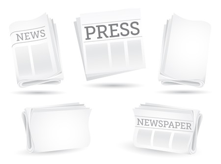 newspaper articles: Set of newspapers isolated on the white background Illustration