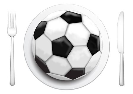 Our food are football, tableware and soccer ball on the white background  Vector