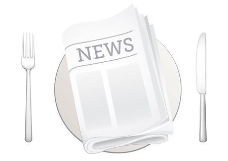 tableware and newspaper on the white background  Vector