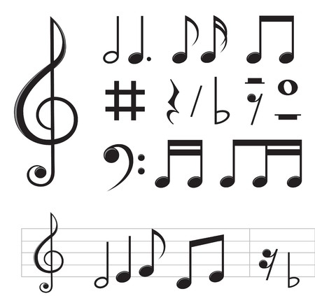 set of basic black notes and signs isolated on the white background   Ilustração