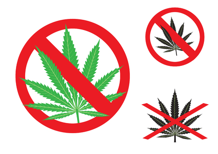 The hemp is forbidden sign on the white background