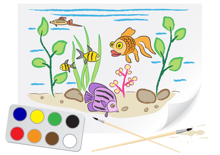 Children drawing the aquarium a brush paints on a paper Vector