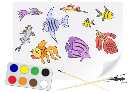 Children drawing the aquarium fishes a brush paints on a paper Vector